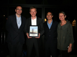 The winner of the Guy Manson Award for Hottest Company at ANZA Gateway to US, Tradeslot. From left to right: John Dyson, Starfish Ventures; Jesco d'Alquen, CEO Tradeslot, Mark B. Johnson, Tradeslot' s Gateway coach and Viki Forrest, CEO ANZA. Photo by KazzaDrask Media.